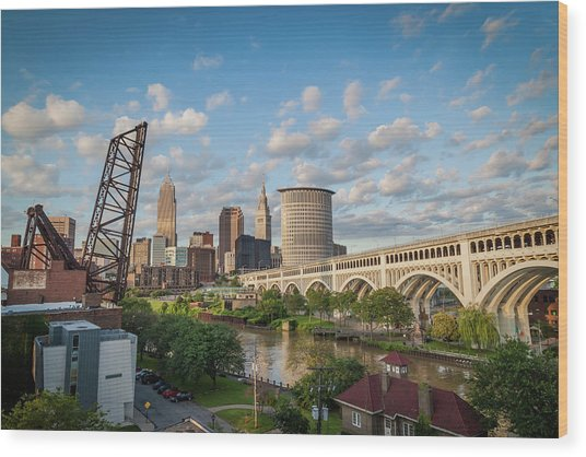 Cleveland Skyline Vista Wood Print