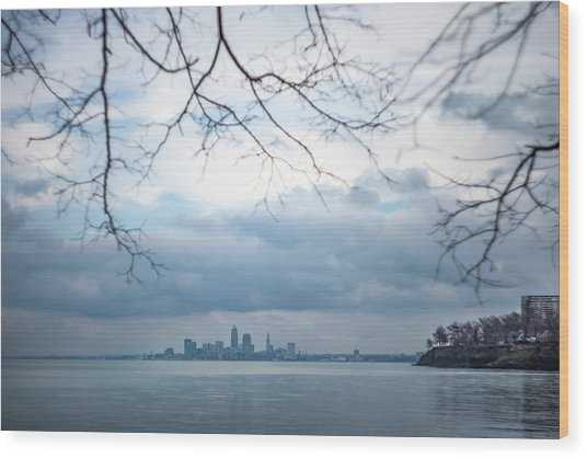 Cleveland Skyline With A Vintage Lens Wood Print