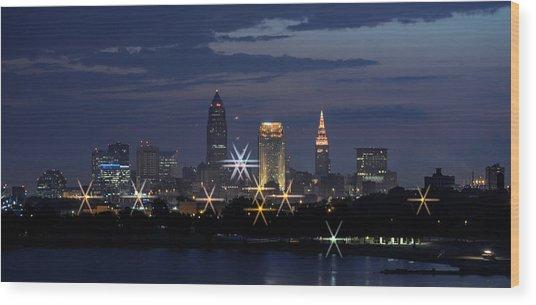 Cleveland Starbursts Wood Print