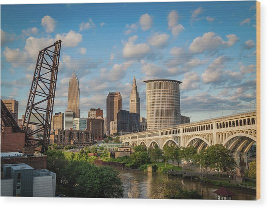 Cleveland Summer Skyline  Wood Print