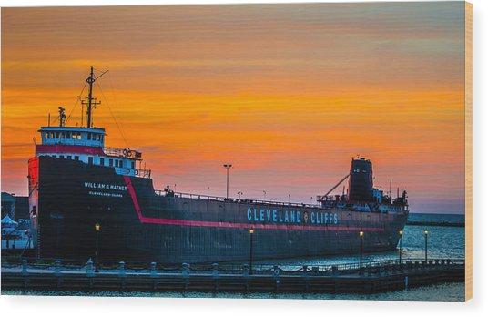 Cleveland Sunset Wood Print