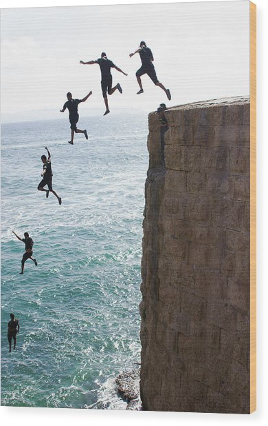 Cliff Diving Wood Print