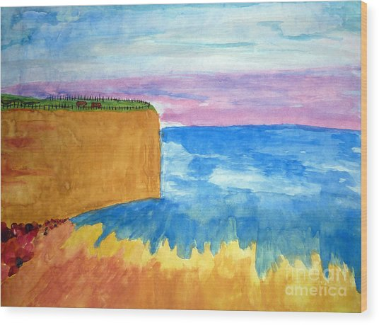 Cliffs And Sea Wood Print