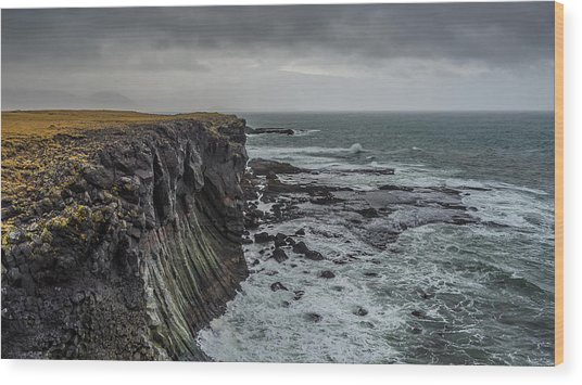 Wood Print featuring the photograph Cliffs At Arnarstapi by James Billings