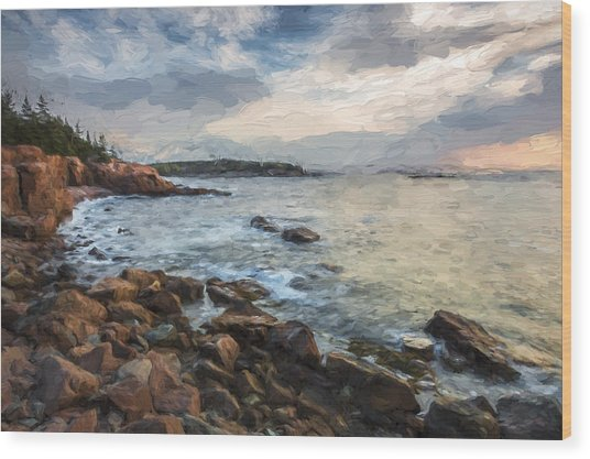 Cliffs Of Acadia II Wood Print by Jon Glaser