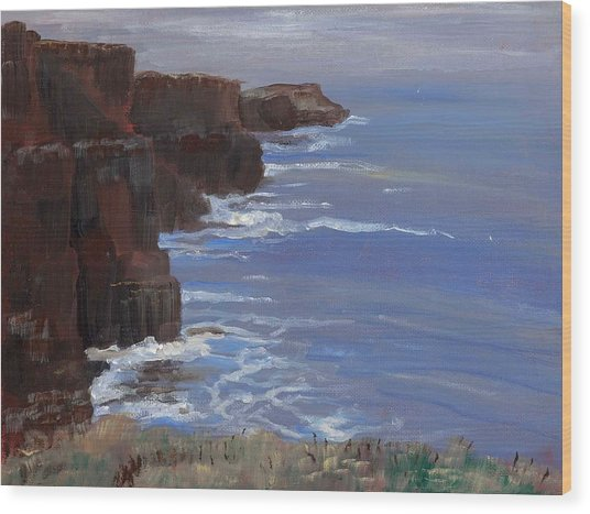 Cliffs Of Mohr Wood Print by Cathy France