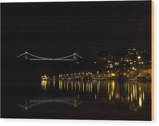 Clifton Suspension Bridge At Night Wood Print