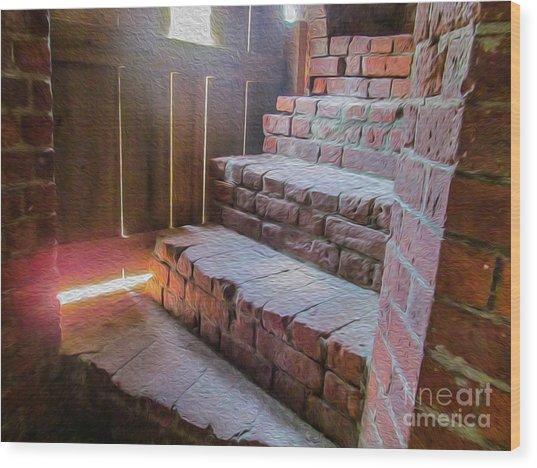 Climb The Brick Steps Of Time Wood Print