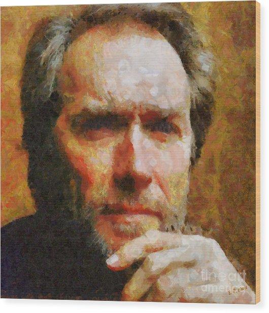 Clint Eastwood Wood Print by Elizabeth Coats