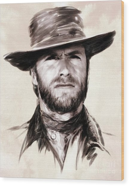 Clint Eastwood Portrait Wood Print by Wu Wei