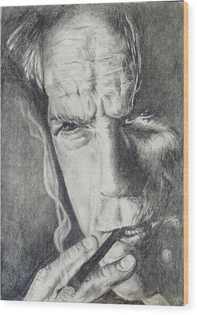 Clint Eastwood Wood Print by Stephen Sookoo