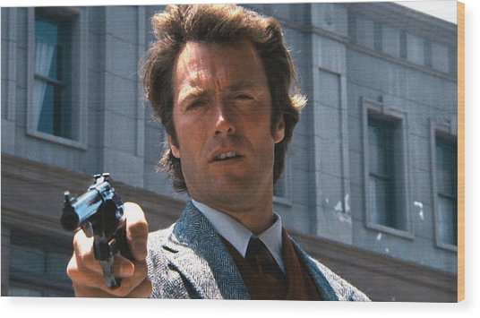 Clint Eastwood With 44 Magnum Dirty Harry 1971 Wood Print