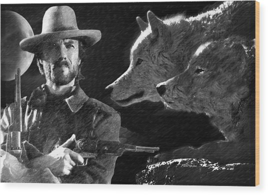Clint Eastwood With Wolves Wood Print