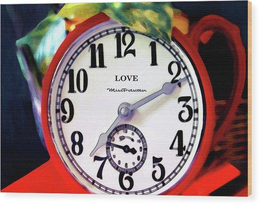 Clock In The Garden  4 Wood Print