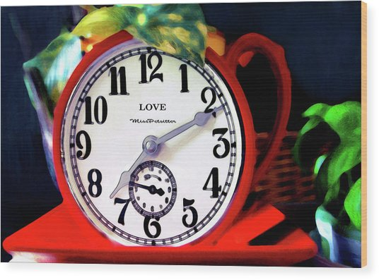 Clock In The Garden Painting  Wood Print