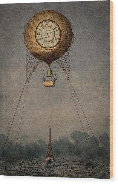 Clock Over Paris Wood Print
