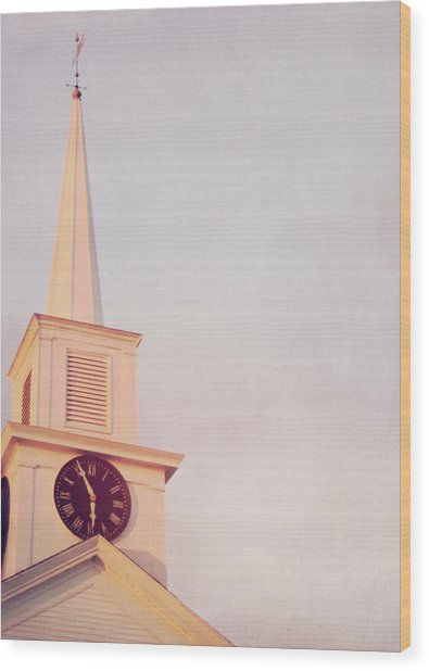 Clock Steeple Wood Print by JAMART Photography