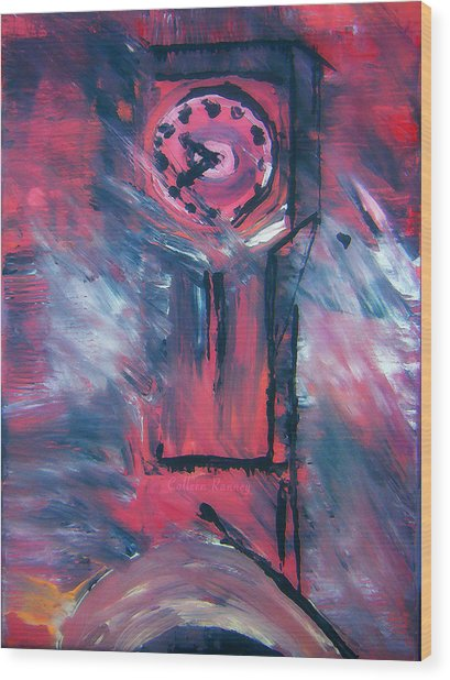 Clock Tower By Colleen Ranney Wood Print