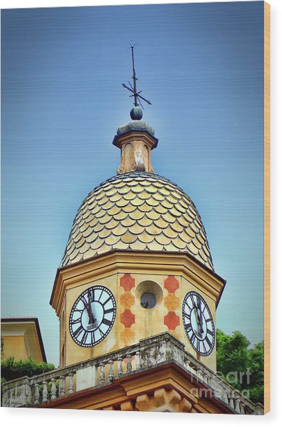 Clock Tower Of Portofino Wood Print by Sue Melvin