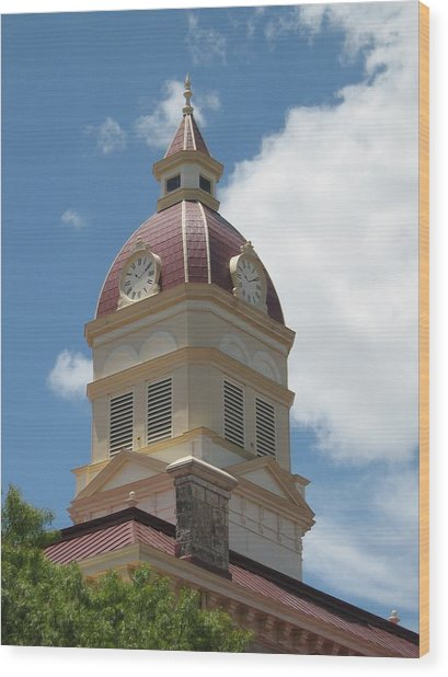 Clock Tower Wood Print by Rebecca Shupp