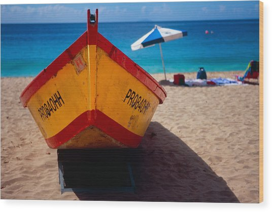 Close Up Frontal View Of A Colorful Boat On A Caribbean Beach Wood Print by George Oze