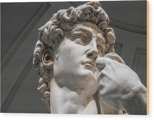 Close Up Of David By Michelangelo Wood Print