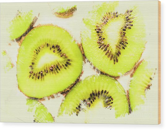 Close Up Of Kiwi Slices Wood Print