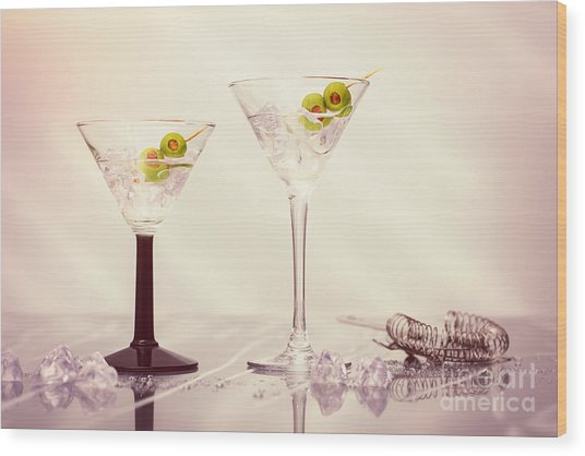 Close Up Of Martini Cocktails Wood Print