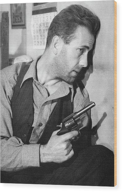Close-up Up F Humphrey Bogart As Duke Mantee With Gun The Petrified Forest 1936 Wood Print