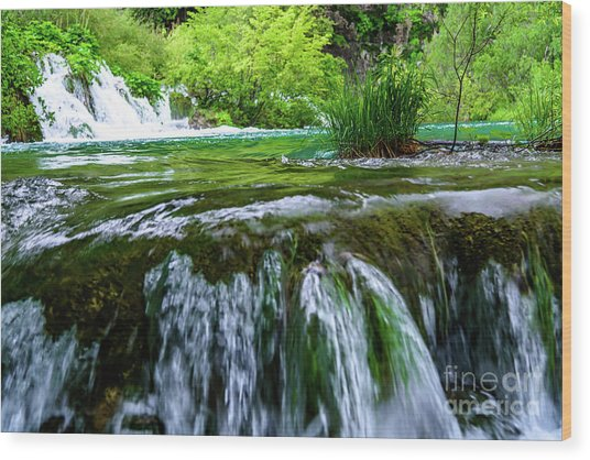 Close Up Waterfalls - Plitvice Lakes National Park, Croatia Wood Print