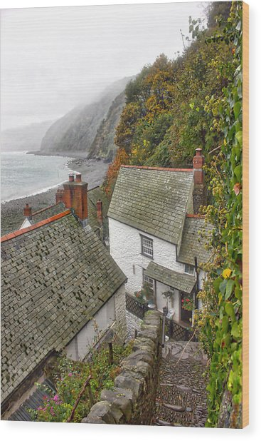 Clovelly Coastline Wood Print