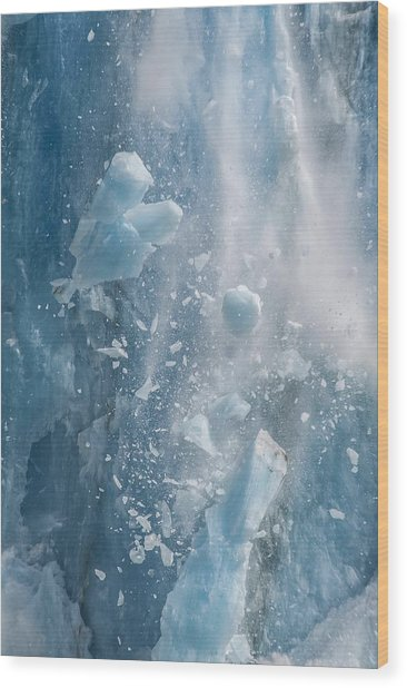 Closeup Of Dawes Glacier Calving Wood Print