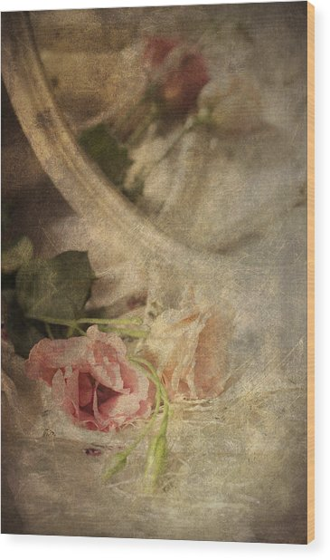 Closeup Of Flowers In Mirror Reflection Wood Print