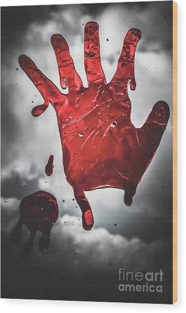 Closeup Of Scary Bloody Hand Print On Glass Wood Print