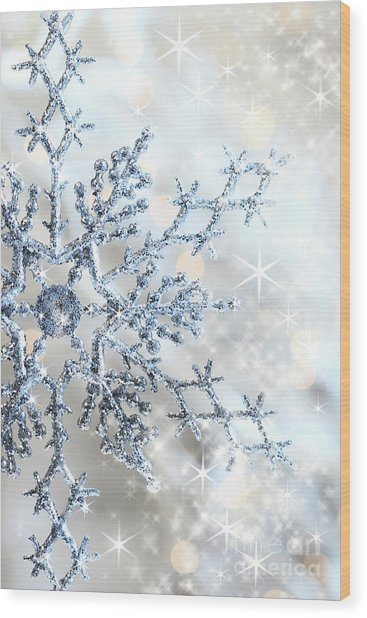 Closeup Of Snowflake Wood Print