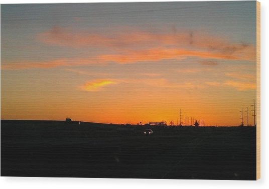 Closing Time On The Horizon Wood Print by Amber  Oxford