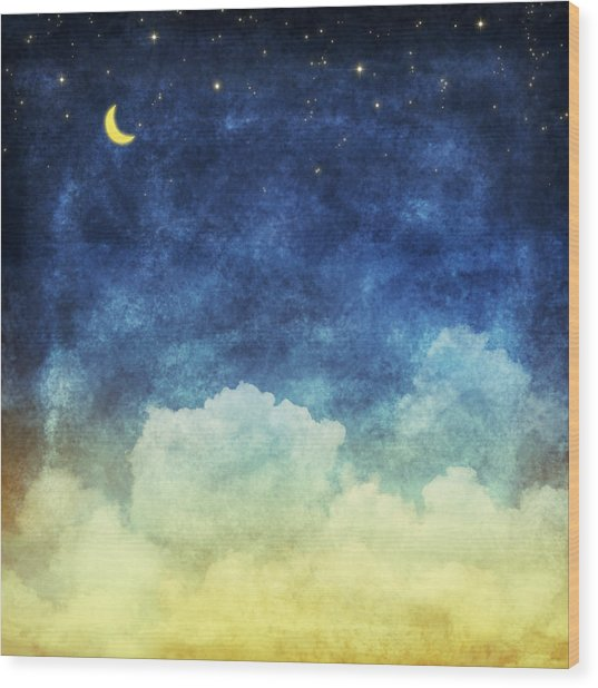 Cloud And Sky At Night Wood Print