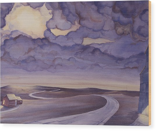 Wood Print featuring the painting Cloud Break On The Northern Plains I by Scott Kirby