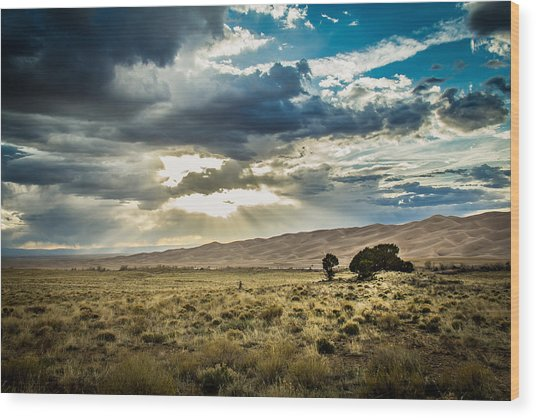 Cloud Break Over Sand Dunes Wood Print