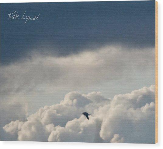 Cloud Flyer Wood Print