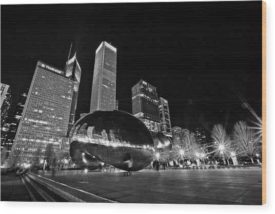 Cloud Gate Wood Print
