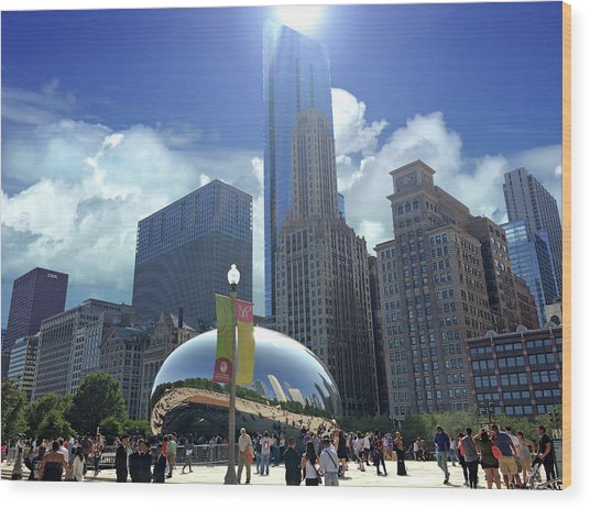 Cloud Gate In Chicago Wood Print