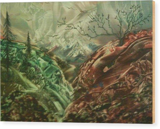 Cloud Mountain Wood Print by John Vandebrooke