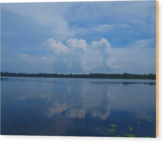 Cloud Reflections Wood Print by Judy  Waller