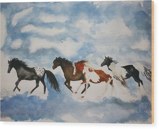 Cloud Runners Wood Print by Michele Turney