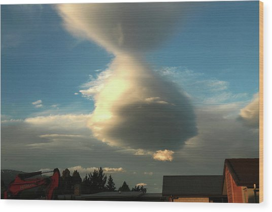 Cloudform With Rooftops Wood Print