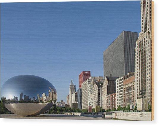 Cloudgate Reflects Michigan Avenue  Wood Print