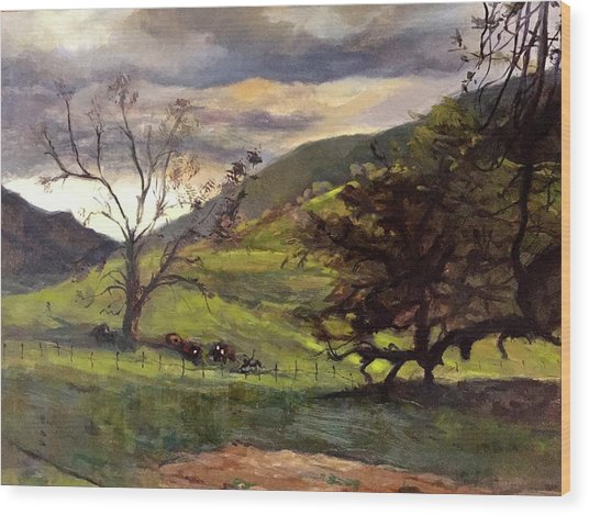 Clouds And Cattle Wood Print