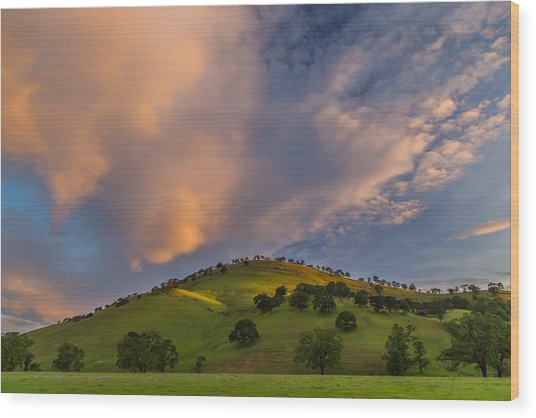 Clouds And Hill At Sunrise Wood Print