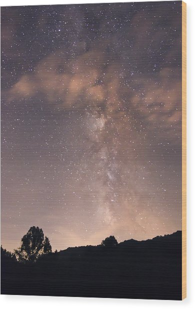 Clouds And Milky Way Wood Print